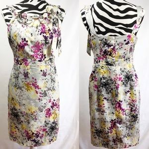 Loft Grey Floral Summer Midi Dress 6P